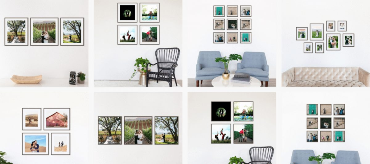Different wall arrangements for frames
