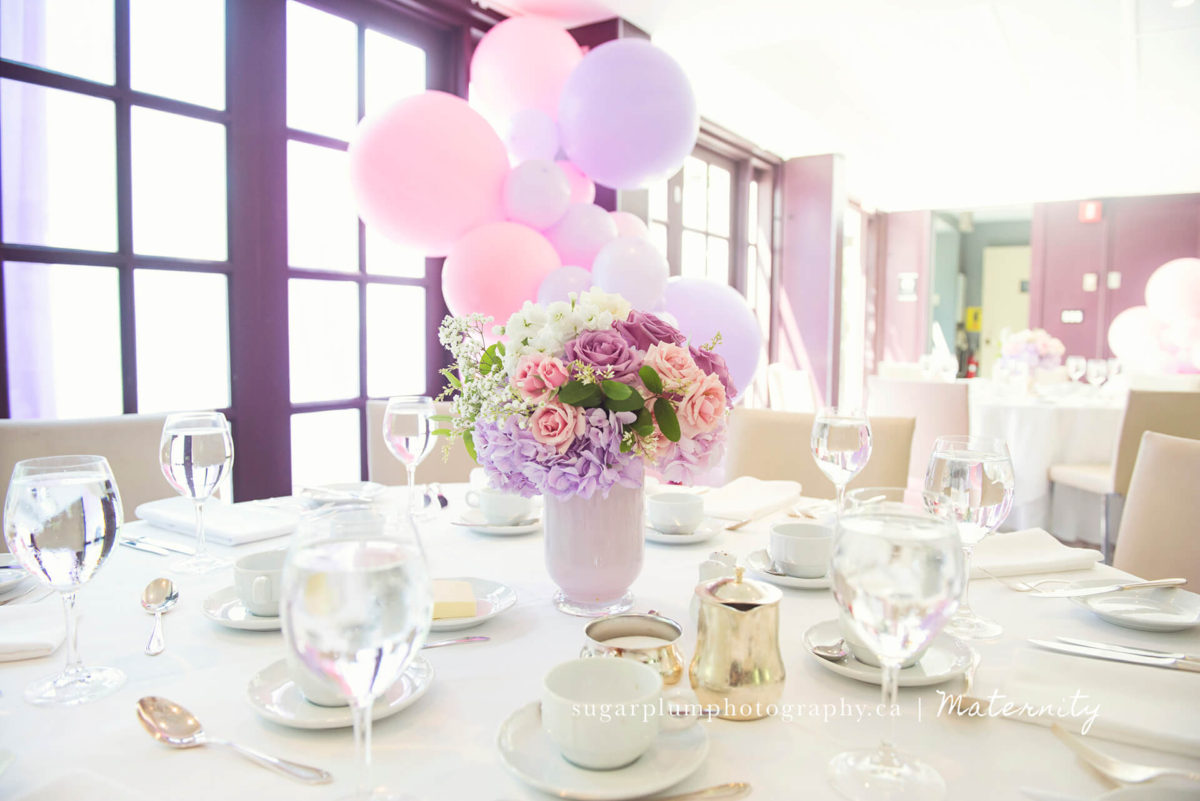Decor details centre pieces at baby shower venue