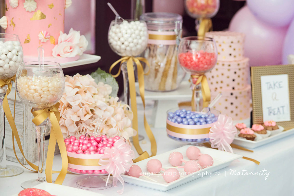 pretty in pink candy decor for baby girl shower