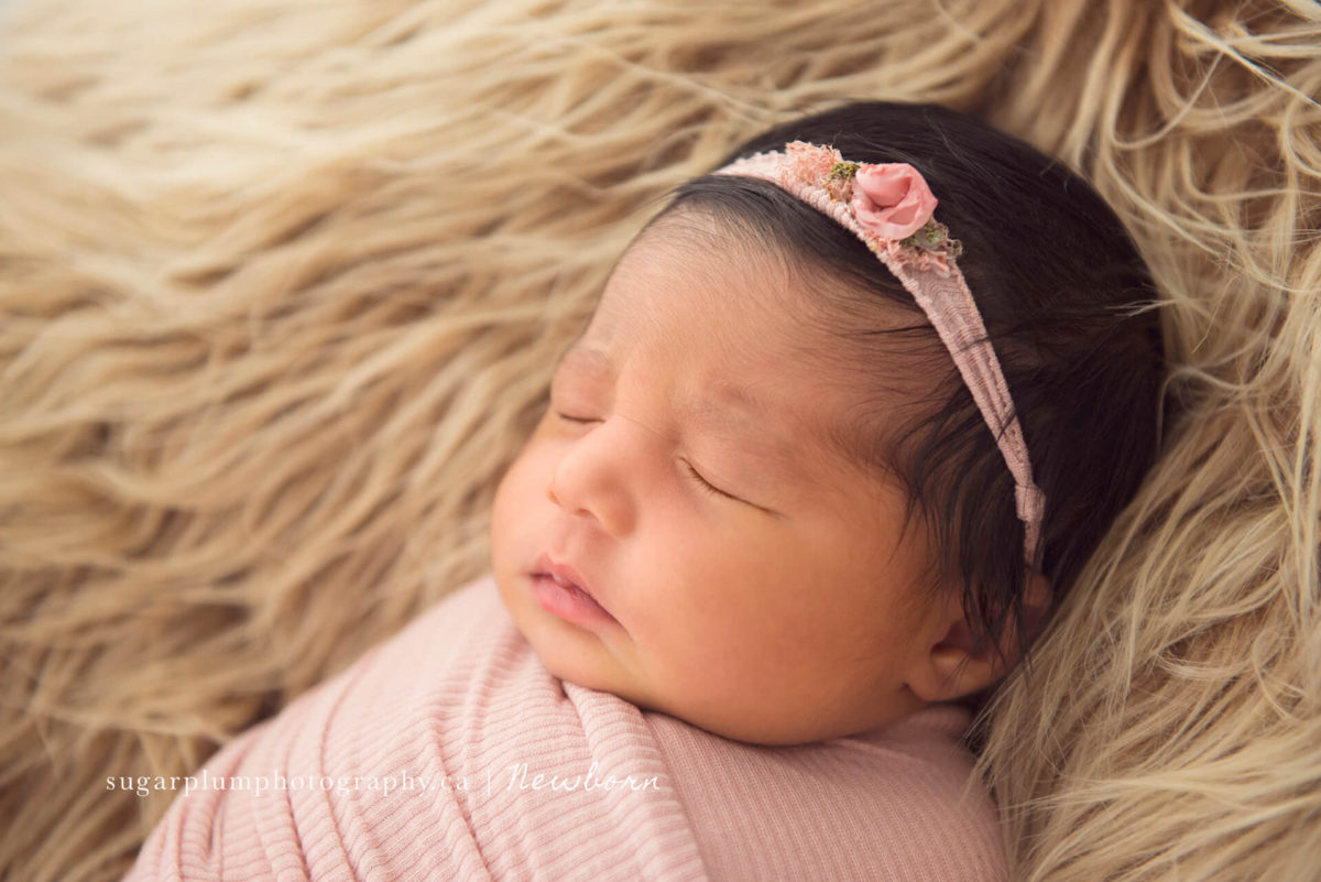Swaddled newborn baby girl face feature