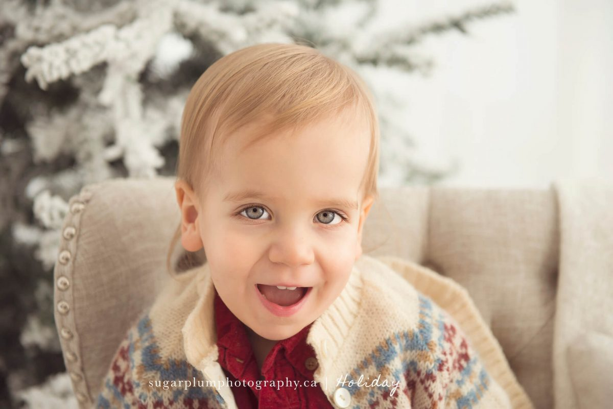 Young boy smiling for holiday portrait